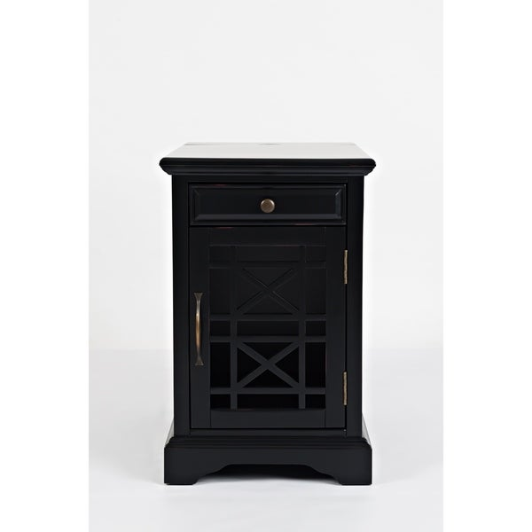 Wooden Chairside Table With Hidden Power Charger, Antique Black