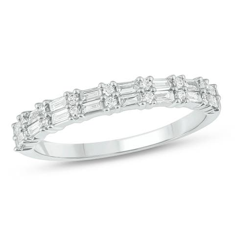 Cali Trove 1/3 Cttw Round and Baguette Diamond Fashion Ring in 14 Kt White Gold