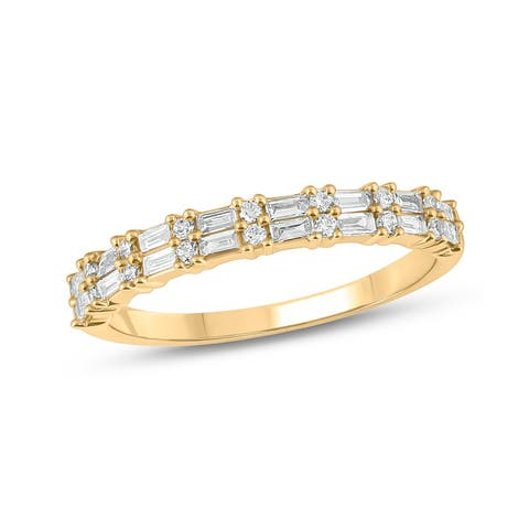 Cali Trove 1/3 Cttw Round and Baguette Diamond Fashion Ring in 14 Kt Yellow Gold