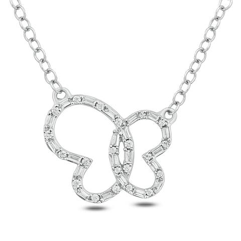 Cali Trove 1/4ct TDW Diamond Butterfly Fashion Necklace In 14kt White Gold