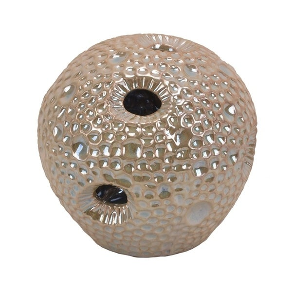 Dimpled Pattern Decorative Ceramic Sea Urchin Orb with Cutout Details, Glossy Beige