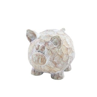 Resin Constructed Patterned Pig Figurine with Intricate Detailing, Brown