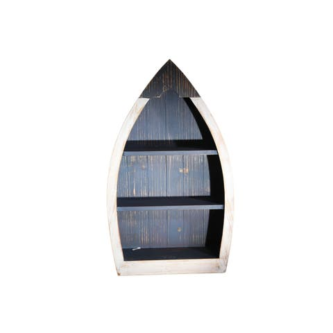 Wooden Wall Shelf in Boat Shape, White and Brown