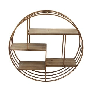 Round Metal Framed Wall Shelf with Four Wooden Display Spaces, Gold and Brown
