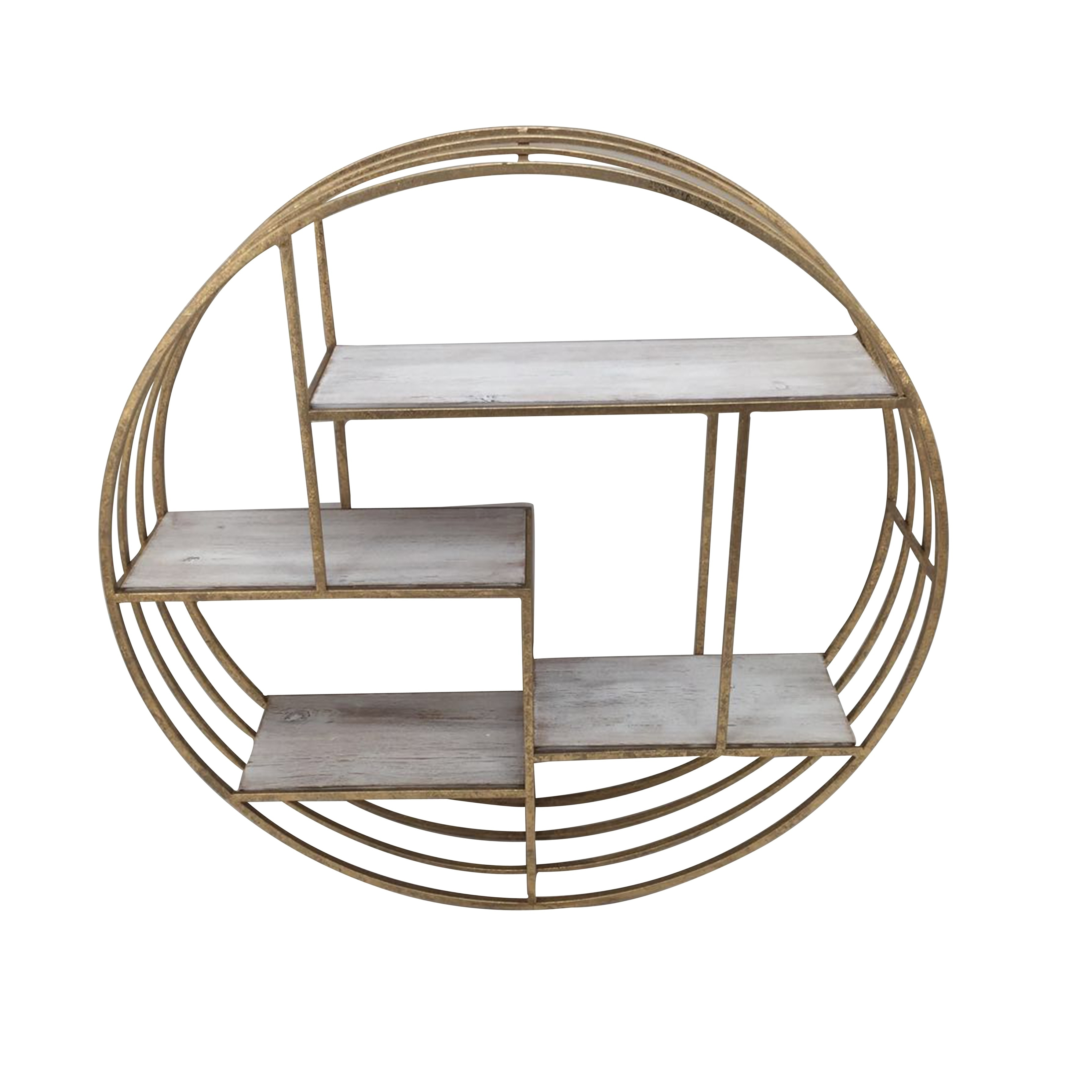 Round Metal Framed Wall Shelf With Four Wooden Display Spaces Gold And White