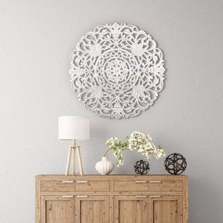 "Madeleine Home - Frasso White Wall Medallion 36"""