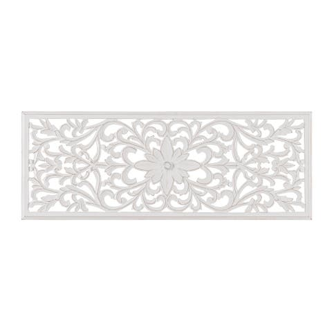 "Madeleine Home - All Season Wall Decor Medallion - Remo (18"" x 48"") - White"