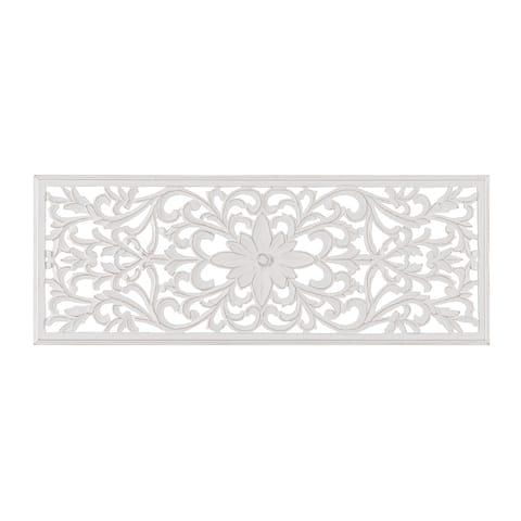 "Madeleine Home - All Season Wall Decor Medallion - Remo (18"" x 48"") - White"