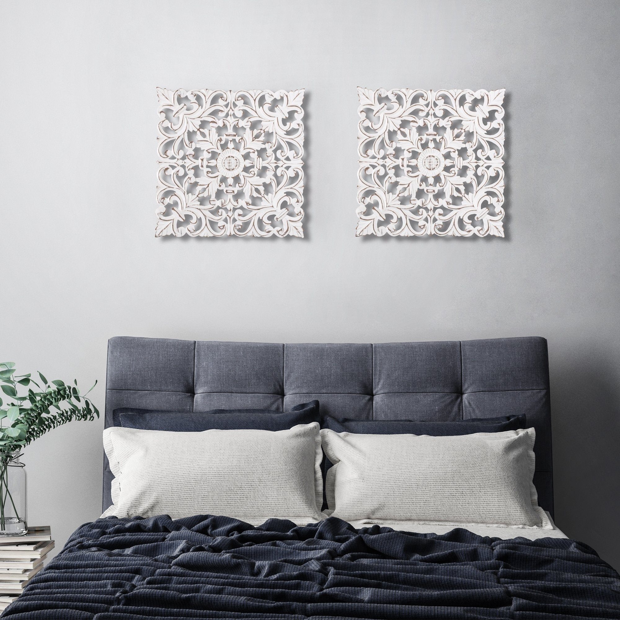 Shop For Madeleine Home All Season Wall Decor Medallion Bianci Pack Of 2 White Get Free Delivery On Everything At Overstock Your Online Art Gallery 5 In Rewards With Club O 26449851