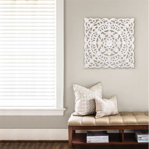 Madeleine Home - All Season Wall Decor Medallion Ancona White 30""