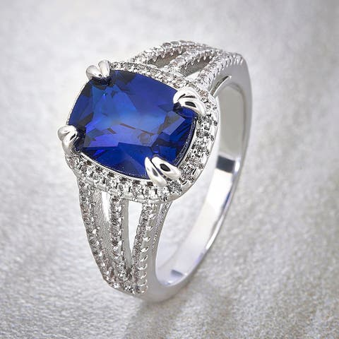 Divina Silver Overlay Created Cushion Blue and White Sapphire Fashion Ring
