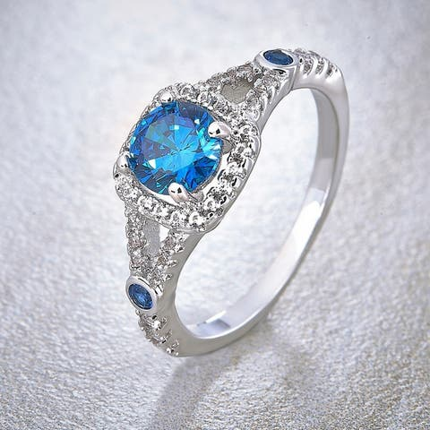 Divina Silver Overlay Created Blue Topaz, Blue and White Sapphire Fashion Ring
