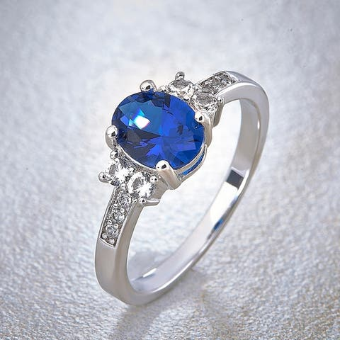 Divina Silver Overlay Created Oval Blue and White Sapphire Fashion Ring