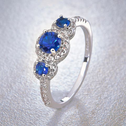 Divina Silver Overlay Created 3-Stone Blue and White Sapphire Fashion Ring