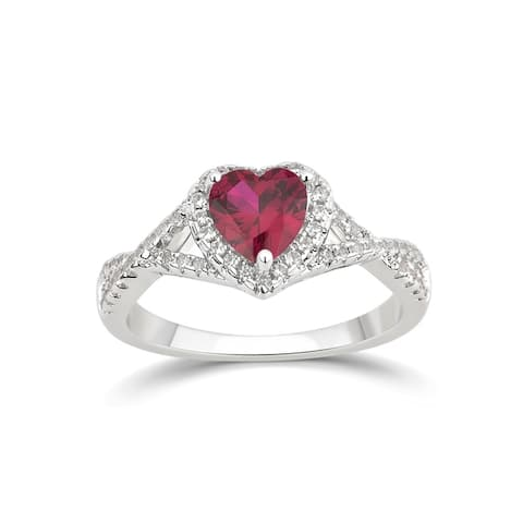 Divina Silver Overlay Created Heart Gemstone Fashion Ring