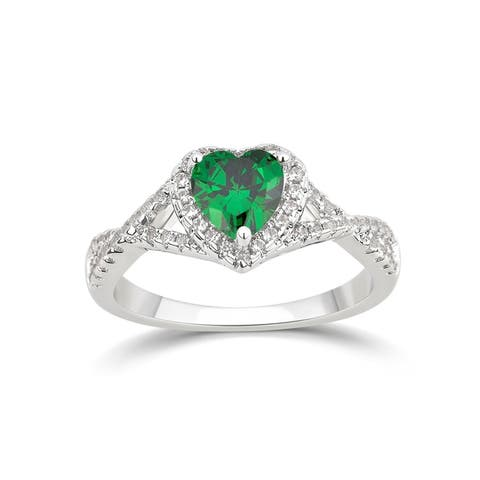 Divina Silver Overlay Created Heart Gemstone Fashion Ring