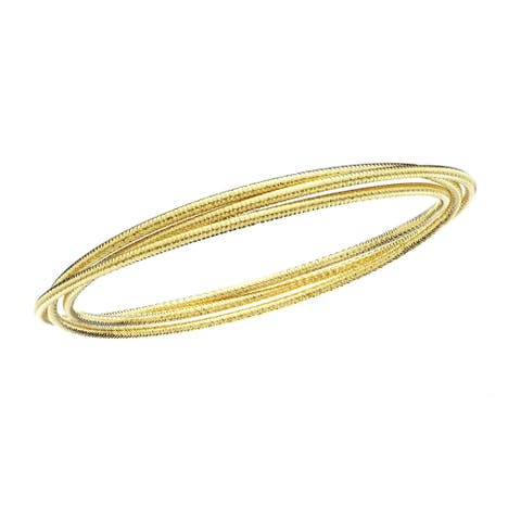 Isla Simone 14kt Gold Plate Diamond Cut Triple Slim Slip on Bangle
