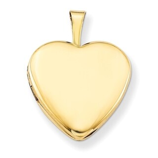 """Curata 14/20 Gold-filled Polished Heart Locket (2 pictures) (15mm)(16"""" chain) - N/A"""