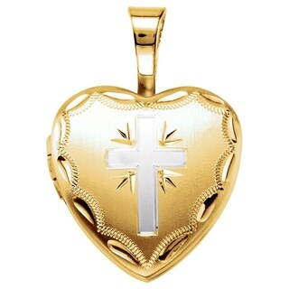 """Curata 925 Sterling Silver Small Two-tone Cross Religious Heart Locket Pendant Necklace (2 pictures) (12mm)(16"""" chain)"""