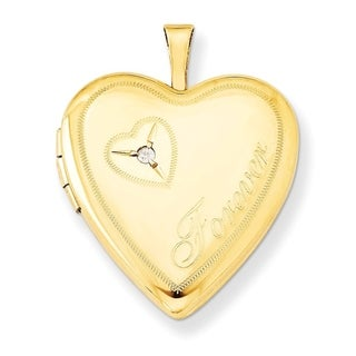 """Curata 14/20 Gold-filled Polished Forever Diamond-accent Heart Locket (2 pictures) (20mm)(18"""" chain) - N/A"""
