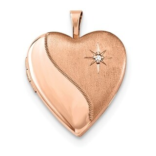 "Curata 925 Sterling Silver Rose Gold-Plated Satin Diamond-accent Heart Locket Pendant Necklace (2 pictures) (20mm)(16"" chain)"
