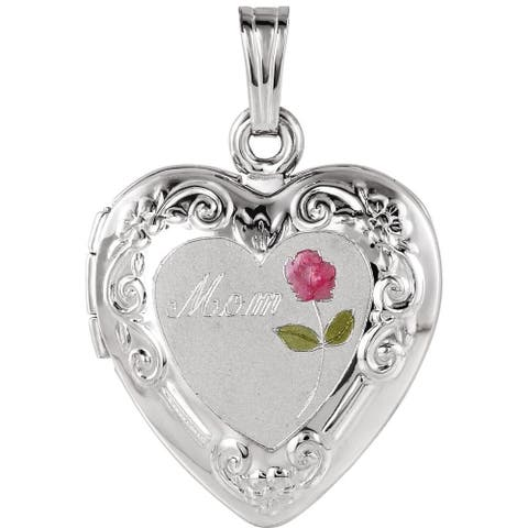 """Curata 925 Sterling Silver Medium Enamel Rose Mom Heart Locket Pendant Necklace (2 pictures) (20mm)(16"""" chain)"""