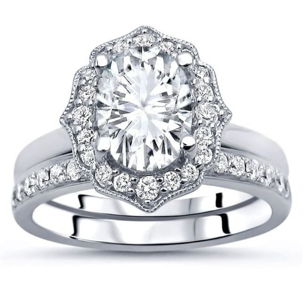 Shop 14k White Gold 9x7mm Oval Cut Moissanite And Diamond