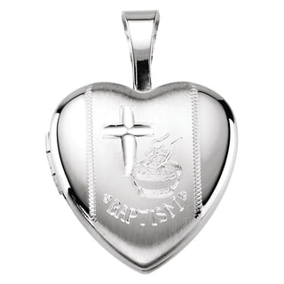 Curata 925 Sterling Silver Small Baptism Heart Locket Pendant Necklace 2 Pictures 12mm 16 Chain