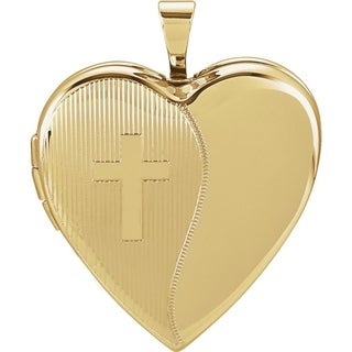 """Curata 14k Yellow Gold Medium Etched Religious Cross Heart Locket Pendant Necklace (2 pictures) (20mm)(16"""" chain)"""