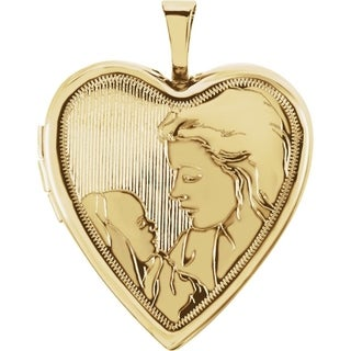 """Curata 14k Yellow Gold Medium Etched Mom and Baby Heart Locket Pendant Necklace (2 pictures) (20mm)(16"""" chain)"""