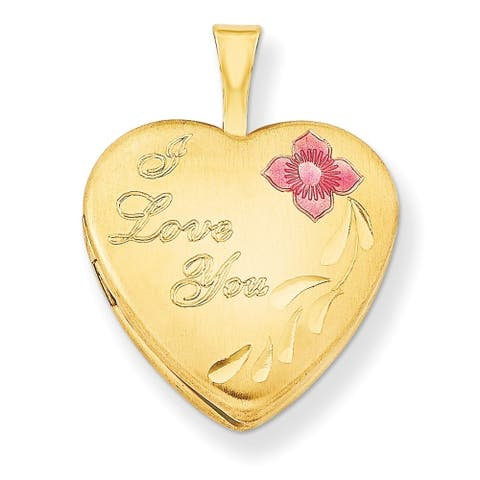 "Curata 14/20 Gold-filled Small Enamel I love You Heart Locket (2 pictures) (16mm)(18"" chain)"