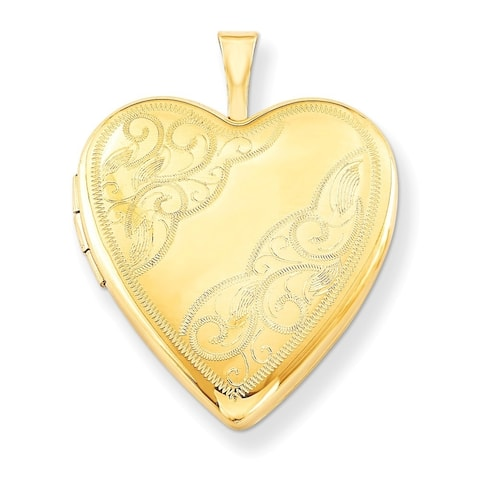 "Curata 14/20 Gold-filled Side Swirl Heart Locket (2 pictures) (20mm)(18"" chain)"