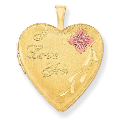 "Curata 14/20 Gold-filled Enamel I Love You Heart Locket (2 pictures) (20mm)(18"" chain)"