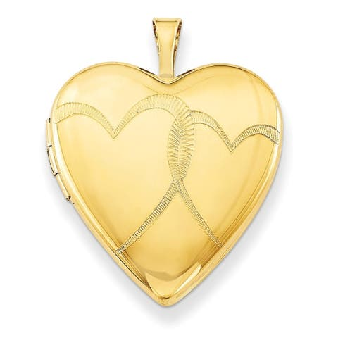 "Curata 14/20 Gold-filled Intertwined Heart Locket (20mm) (holds 2 pictures) (16"" chain)"