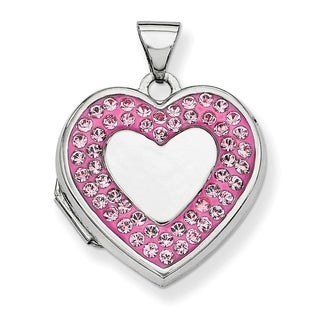Curata 925 Sterling Silver Rhodium Plated Pink Crystal Heart Locket Pendant Necklace 2 Pictures 18mm X 24mm 16 Chain