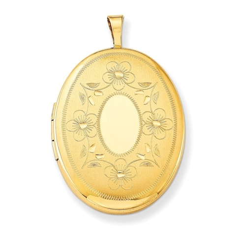 """Curata 14/20 Gold-filled Floral Oval Locket (2 pictures) (21mm x26mm)(16"""" chain)"""