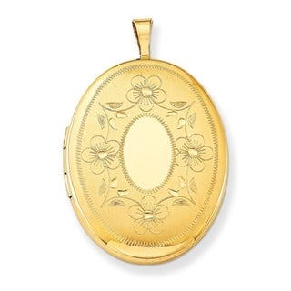 """Curata 14/20 Gold-filled Floral Oval Locket (2 pictures) (21mm x26mm)(16"""" chain) - N/A"""