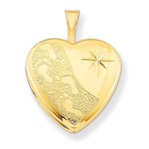 "Curata 14/20 Gold-filled Small Child Footprint Heart Locket (2 pictures) (16mm)(18"" chain)"