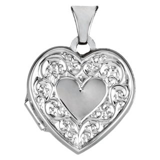 """Curata 925 Sterling Silver Medium Floral Double Heart Locket Pendant Necklace (2 pictures) (15mm)(16"""" chain) - N/A"""