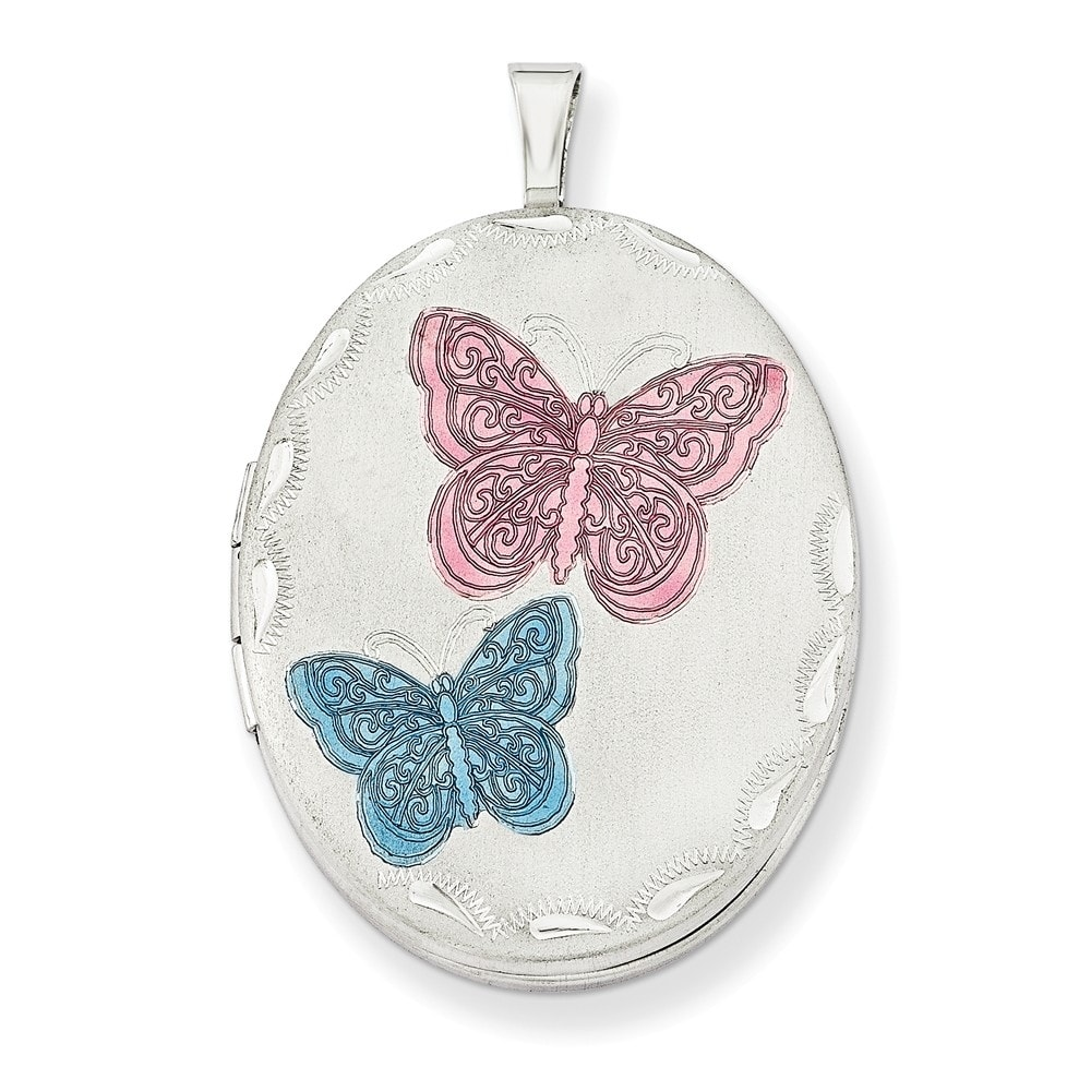 Silver Yellow Plated Butterflies Charm 20mm
