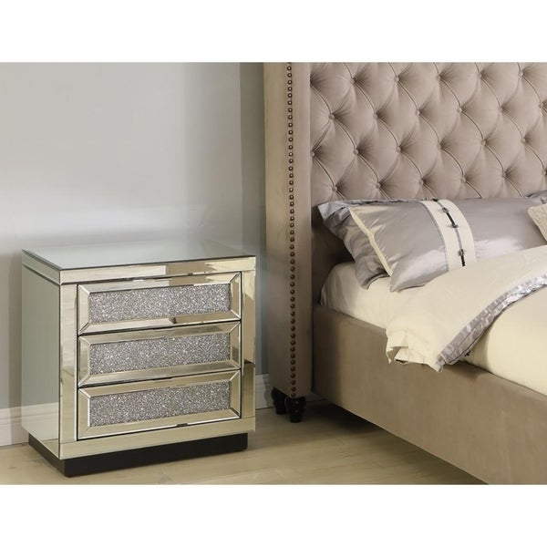 Best Master Furniture 3 Drawer Crystal Nightstand