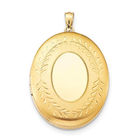 """Curata 14/20 Gold-filled Large Floral Oval Locket (2 pictures) (26mm x 34mm)(16"""" chain)"""