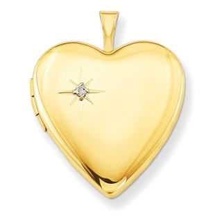 Curata 14 20 Gold Filled Polished Diamond Accent Heart Locket 2 Pictures 20mm 18 Chain