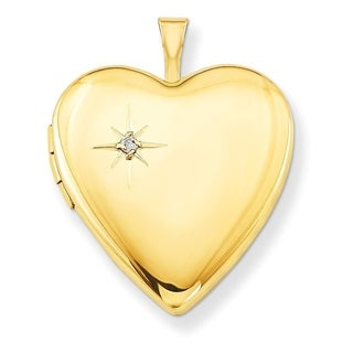 """Curata 14/20 Gold-filled Polished Diamond-accent Heart Locket (2 pictures) (20mm)(18"""" chain) - N/A"""