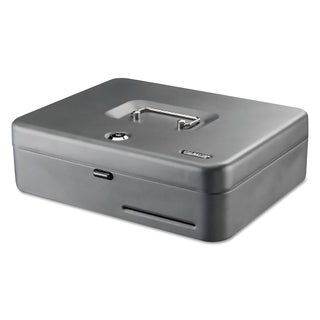 SteelMaster Tiered Cash Box with Bill Weights, 2 Keys, Steel, Gray