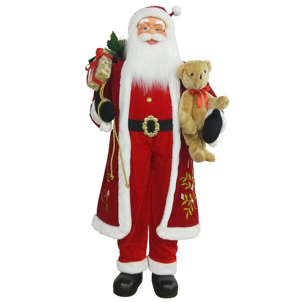 5' Life-Size Standing Santa Claus Christmas Figure with Teddy Bear and Gift Bag. Opens flyout.