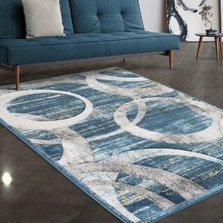 "Allstar Rugs Blue and Grey Circular Pattern Hand Carved Rectangular Area Rug with Dark Grey Design - 7' 5"" x 9' 8"""