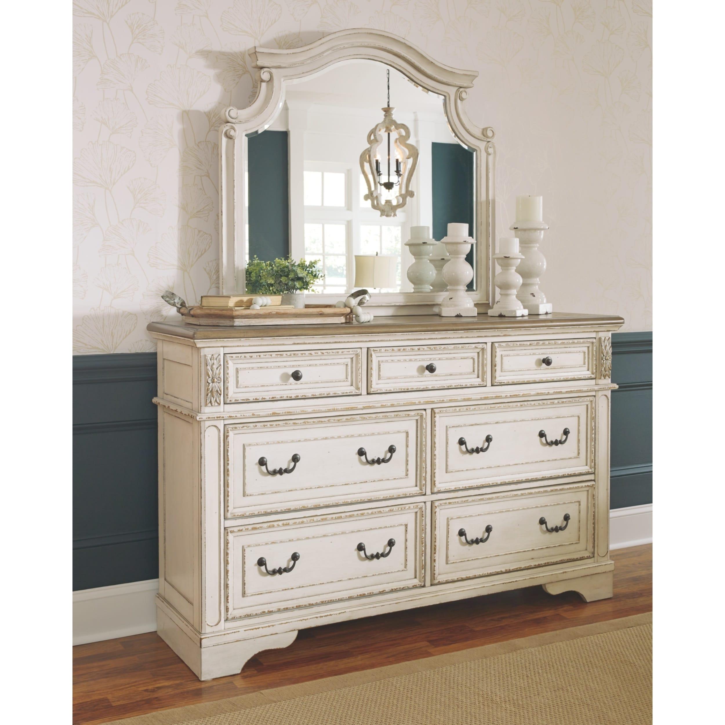 Antique White Dresser And Mirror