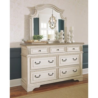 The Gray Barn Nettle Bank Antique White Dresser and Mirror Set