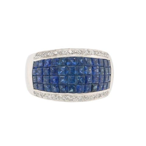 18K White Gold Mystery Set Sapphire Estate Band Ring (Size 7)